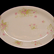 French Porcelain Small Platter / Tray ~ Factory Decorated with Pink Wispy Flowers ~ ALFRED HACHE & CO (Vierzon, France) - ca 1903
