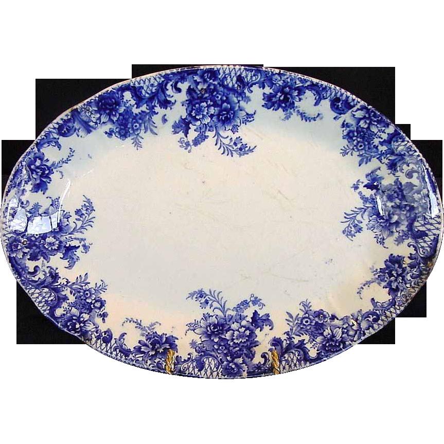 "WONDERFUL Old English Blue and White Platter ""Trellis"" Pattern~ W Adams & Co Tunstall England pre 1891"