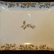 Wonderful Old Haviland Limoges Platter / Tray ~ Factory Decorated with Blue Flowers and Brown Vines ~ Charles Field Haviland / Gerard, Dufraisseix and Morel France 1882-1890