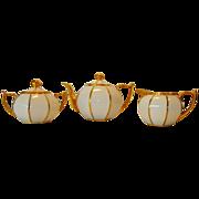 Cute 5 piece Coffee/ Tea set ~ Lidded 8 sided Melon Shaped Pot, Sugar & Creamer ~ White & Gold ~ Zeh Scherzer & Co ~ Stouffer Studio 1906-1914