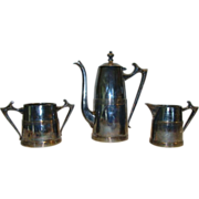 Cute Sheffield Silver Plated ~ Art Deco ~Coffee Pot, Sugar & Creamer Set 1930's