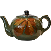 Gorgeous Redware Teapot ~ Hand Painted with Autumn Leaves ~ unmarked