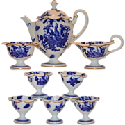 Gorgeous  Aesthetic Movement Tea or Coffee Pot Set ~ Pot, Creamer, Sugar & 5 Egg Cups ~ Blue Dragon ~ Royal Worcester Of England 1911