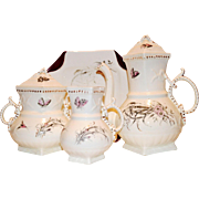 SALE Exquisite Antique English Coffee / Tea Pot, Creamer and Sugar with Wild Flowers Sampson,