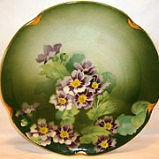 "Colorful 11"" French Faience Charger ~ Hand Painted with Purple & White Geraniums ~ Keller Guerin Luneville France 1890-1930"
