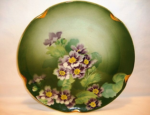 """Colorful 11"""" French Faience Charger ~ Hand Painted with Purple & White Geraniums ~ Keller Guerin Luneville France 1890-1930"""