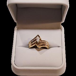 SALE Beautiful Wedding Ring Set ~ 14 Karat Marquise Diamond  .42 Carats &  54 Baquette .27 Carats Size 6 1/2