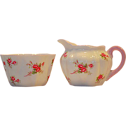 Shelley Bone China Creamer and Sugar Set ~ Rose Spray / Bridal Rose Pattern 13545~ Dainty Shap