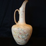 Perfect English Earthenware Vase / Ewer  with Flowers ~ Royal York ~ S. Fielding & Co Stoke On Trent England 1891-1913