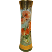 SALE Awesome Austrian Porcelain Vase ~ Hand painted with Orange Poppies and Daisies ~ Signed L