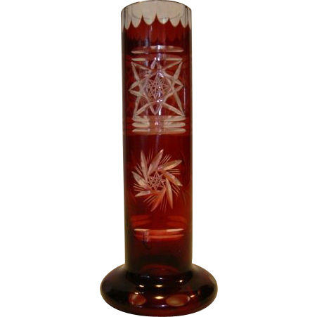 Beautiful Glass Bud ~ Red Cut to Clear ~ Pinwheel and Star Motif