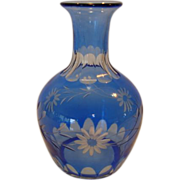 SALE Wonderful Blue Flash cut to clear Crystal Vase / Decanter ~ Floral Design