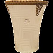 SALE Stunning  Satin Glass Vase with 24K Gold Plated Ormolu Collar 1920's