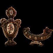Superb Austrian/Bohemian Majolica Vase and Card holder ~ Gerbing & Stephan 1885-1895