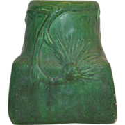 Great Unmarked Owens Matte Green with Thistle Leaves and Flowers ~Owens Pottery Zaneville OH 1896-1907