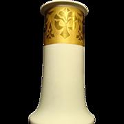 Elegant, Stylish and Large! 11 3/4 '' Porcelain Vase ~ Cream Vellum and Gold Embossed ~ HEINRICH & CO. Selb Bavaria 1896+