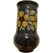Beautiful French Earthenware / Faience Vase ~ Hand Painted ~Cobalt Blue with Yellow Flowers ~ France. Attributed to Sarreguemines.