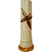SALE Gorgeous English Worcester Porcelain Bud Vase ~ Ivory with Gold Bamboo Leaf ~ By Royal Wo