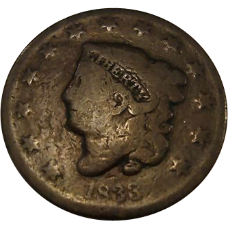 1833 United States of America Large Cent-Coronet Head-Copper