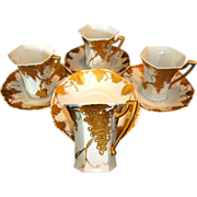 SALE Four (4) Unique Limoges Porcelain CHOCOLATE SET Cups & Saucers ~ Grapes and Vines Hand Pa
