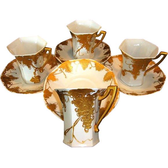 Four (4) Unique Limoges Porcelain CHOCOLATE SET Cups & Saucers ~ Grapes and Vines Hand Painted with Raised Roman Gold ~ Signed 'Emma A Strahley' ~ T&V Limoges 1907-1919