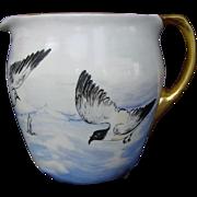 WONDERFUL Lenox Belleek Lemonade / Cider Pitcher ~ Hand Painted with Ocean,Sea Gulls&Boats ~ Lenox Belleek ca.1906-1924.
