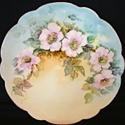 SALE Beautiful Limoges Porcelain Plate Hand Painted with Pink/White Wild Roses – Limoges Fra