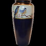 "Beautiful Bavarian Cobalt Vase ~ Hand Painted with Blue Birds ~10 ½"" Tall ~ Rosenthal Selb-Bavaria 1910"