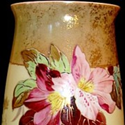 "SALE Amazing 12"" Bristol Mantel Vase ~ Decorated with Flowers and Gold Gilt ~ England late 1"