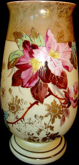 """Amazing 12"""" Bristol Mantel Vase ~ Decorated with Flowers and Gold Gilt ~ England late 1800's"""
