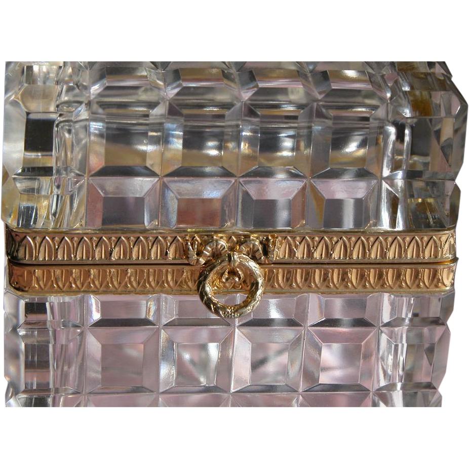 French Crystal Casket Box Cristal Taille Main France