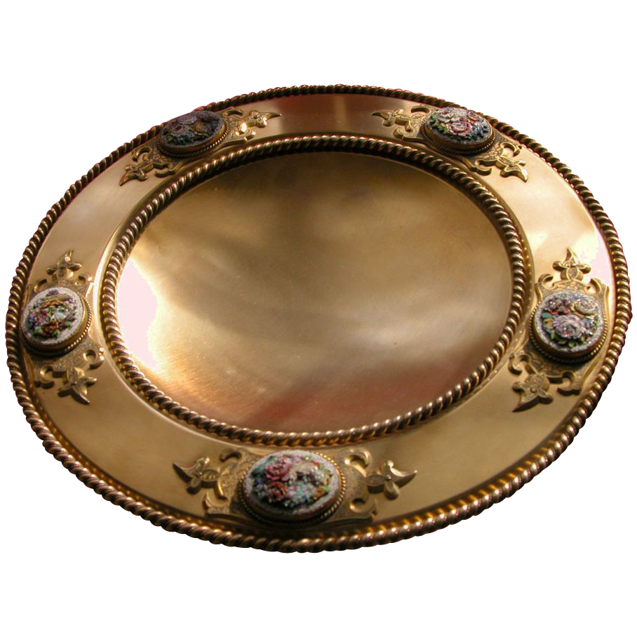 Micro Mosaic Antique Bowl Bronze Five Panels of Flowers Italy