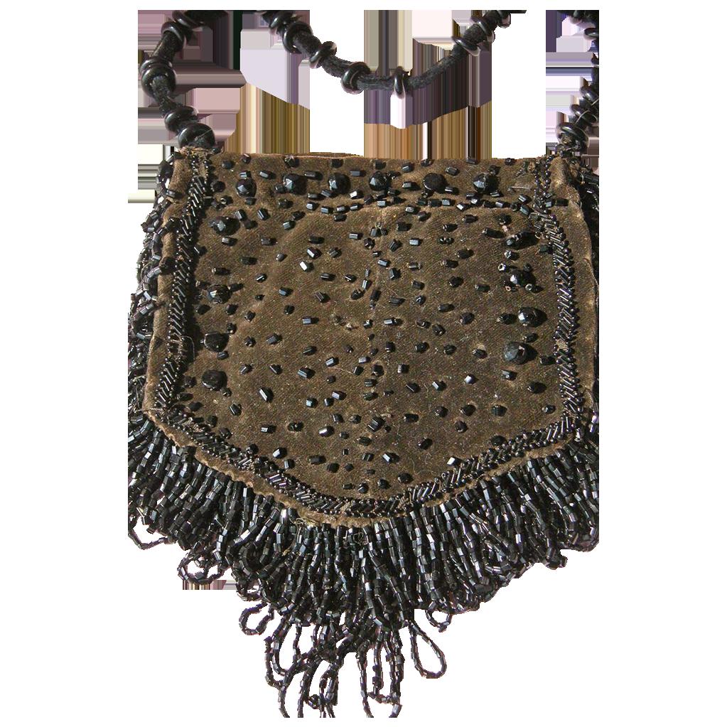 Vintage Purse Glass Beads Velvet for Chatelaine