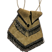 1920s Purse of Suede and Glass Beads Pristine Condition