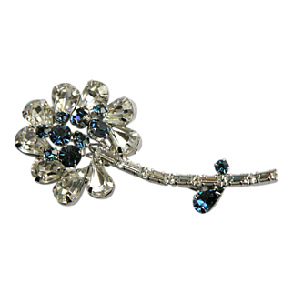 SALE Weiss Pendant Brooch Pin with Sparkly Stones Faux Sapphires
