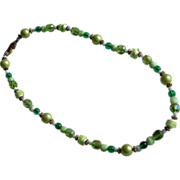 Green Crystal Necklace Beads Twenty Two Inches