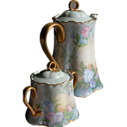 Porcelain Tea Pot And Sugar Bowl  Hand Painted Perfect