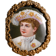 Framed Hand Painted Portrait  on Porcelain Antique Young Boy in Frame