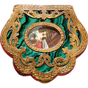 SALE Compact Enamel Jeweled  from Italy Malachite Look