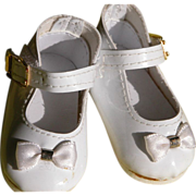 Baby Doll Shoes with Bow and Ankle Strap White Patton