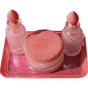 Art Deco Perfume Bottle Powder Bowl and Glass Tray Vanity Set