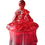 Red Glass Powder Bowl in Shape of a Lady