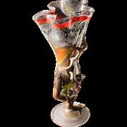 Large Art Glass Vase Artist Signed from Poland Vintage but Modern