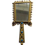Hand Mirror Austrian Jeweled Faux Gems