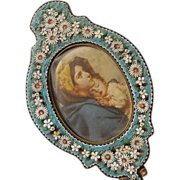 Micro Mosaic Frame Gorgeous Shaped like a Hand Mirror