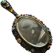 SALE Antique Hand Mirror with Glass Beads Small