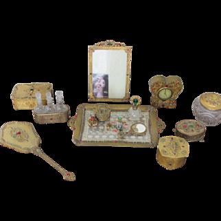 SALE 27 Piece Jeweled Vanity Set Perfume Bottles Vanity Tray Boxes Jars Mirrors Clock and Frame