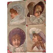 SALE Four Victorian Trade Card Girls in Hats Lithographs