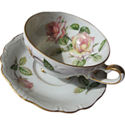 Porcelain Tea Cup on Three feet with Saucer Pink Roses