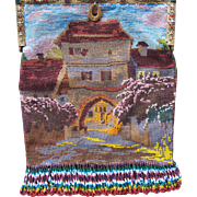 Micro Beaded Purse with Jeweled Frame and Chateau with Scenic Surrroundings